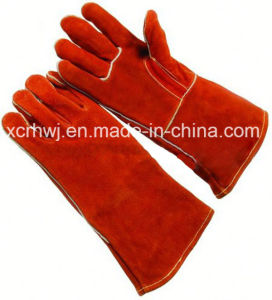 14′′full Lined Cowhide Spliet Leather Welding Gloves and Working Gloves, Kevlar Stitching Leather Welding Gloves, Reinforced Thumb Leather Gloves for Welder Use