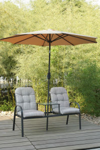 Patio Garden Outdoor Furniture Lounge 2 Chairs with Umbrella (FS-4012) pictures & photos