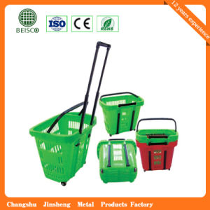 Telescope Plastic Supermaket Rolling Shopping Basket (JS-SBN06) pictures & photos