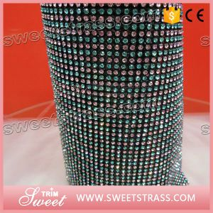 Diamond Pink Aquamarine Crystal Rhinestone Roll Mesh pictures & photos