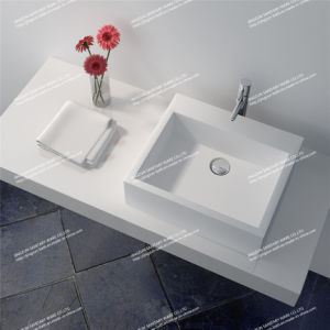 Modern Design Stone Resin Artificial Stone Bathroom Mineral Basin (JZ9022)