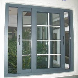 Aluminium Sliding Glass Door Grills Design on Gain Wooden Powder Coated pictures & photos
