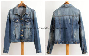 Wholesale Women Clothes Punk Style Worn Denim Jacket Coat pictures & photos