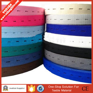 2016 Tailian Custom Colored Eyelet Buttonhole Adjustable Elastic Band Tape pictures & photos