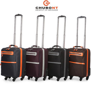 Chubont High Qualiltyl 4 Wheels Solft Trolley Case with Nylon and Leather Material pictures & photos