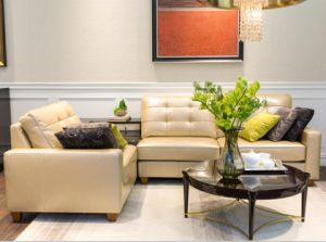 Sparkling Beige/off White Leather Sectional Sofa/Corner Sofa pictures & photos