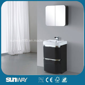 High Gloss Black PVC Bathroom Cabinet with Mirror pictures & photos