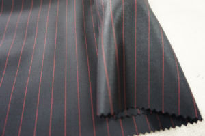 Black&Red Streak Wool Fabric for Suit pictures & photos