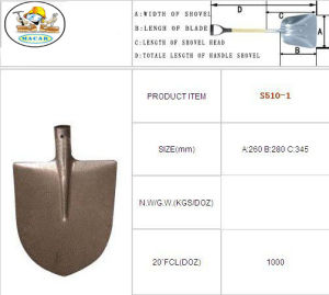 Garden Tools Steel Flat Head Digging Types of Spade Shovel