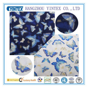 Luxurious and Noble Blue & White Butterfly Printed Cottontwill Fabric for Patchwork/Quilting pictures & photos