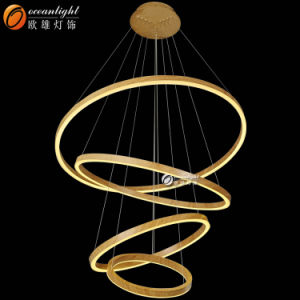 Wooden Painted Aluminum + Acrylic Circles Hotel Hall Chandelier Lighting pictures & photos