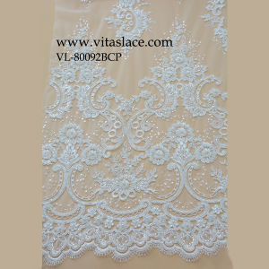 White Rayon Lace Fabric for Wedding Clothes in Factory Vl-80092bcp