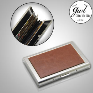 Customized Leather Card Holder Open Two Sides pictures & photos