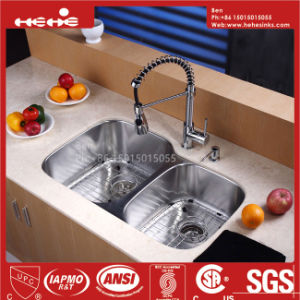 60/40 Stainless Steel Under Mount Double Bowl Kitchen Sink with Cupc Certification pictures & photos