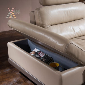 Leather Sofa with Storage Cabinet and Table (826) pictures & photos