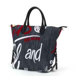 Fashion Lady′s Flock Printing Jeans Shopping Handbag (pH1848)