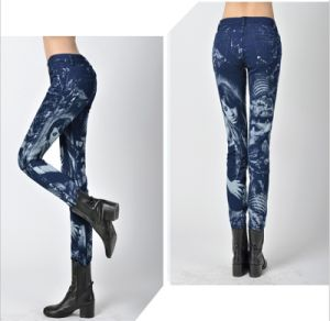 Women′s Color Elastic Jeans Slim Feet Fashion Pattern Printing Jeans pictures & photos