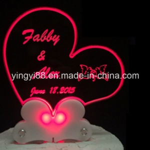 New Acrylic Heart Cake Topper for Weddings with LED Light pictures & photos