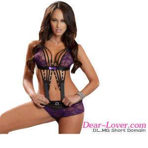 Sexy Strappy Rhinestone Lace Teddy Lingerie pictures & photos