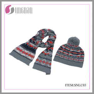 2015 Winter Fashion Children Acrylic Jacquard Scarf and Hat Suit pictures & photos