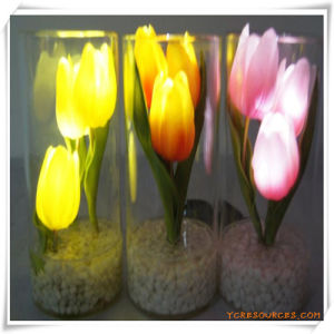 3PCS Peony LED Artificial Flowers with Glass Cup for Promotion pictures & photos