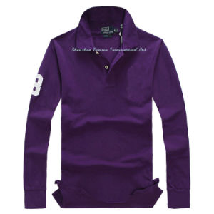 Embroidery Mens Tshirt with Polo Neck in Purple pictures & photos