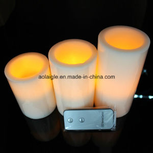 Yellow Flameless 3 Set Wax Candle LED with Remote Control