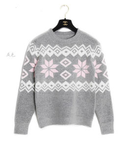 2015 Fashions Geometric Patterns Weater Comfortable Round Neck Pullover Dehaired Angora Sweater pictures & photos