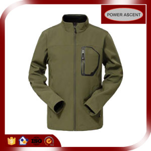Men Top Quality Waterproof Breathable Olive Colour Softshell Jacket pictures & photos