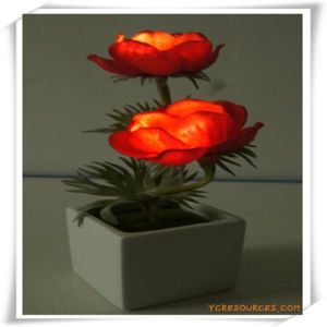 Small Poppy LED Artificial Flowers with Ceramics Pot for Promotion pictures & photos