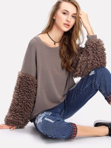 Faux Fur Sleeve Ribbed Knit Sweateshirt pictures & photos