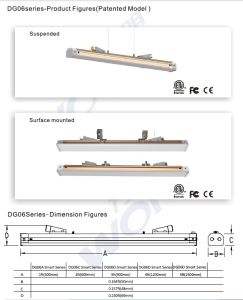 45W 1.2m Free Connection Dimmable Office Linear Light pictures & photos