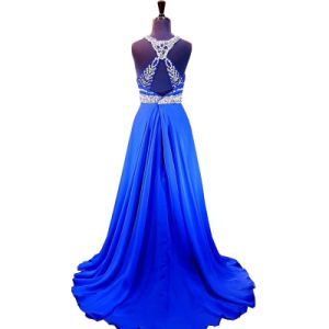 Blue Rinestones Prom Party Gowns Backless Real Photo Cheap Evening Dress NF2017 pictures & photos