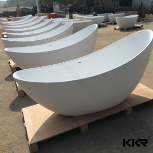 Egg Shape Solid Surface Acrylic Resin Stone Freestanding Bathtub pictures & photos