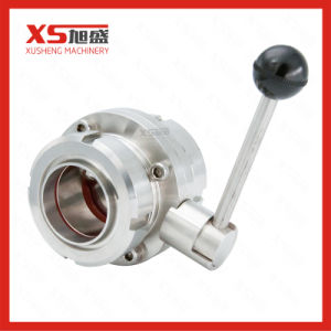 Stainless Steel Hygienic Union Ends Manual Butterfly Valves pictures & photos