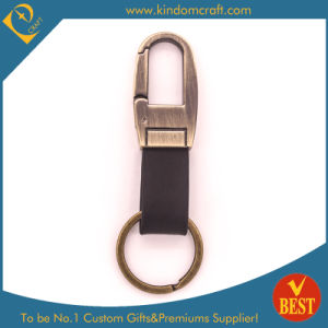 Factory Price Customized Antique Gold Finished Leather Key Chain with High Quality pictures & photos