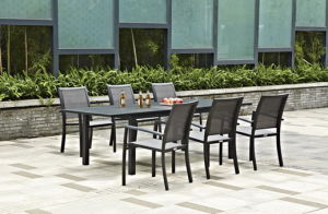 Aluminium Slat Extension Table Dining Set