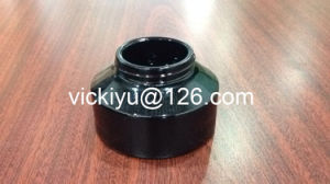 100g Black Cream Glass Jars, Puple Black Glass Container for Cosmetics, Violet Black Glass Cream Containers with Alu Black Cap