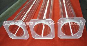 Custom Design Transparent Quartz Tube with Square Flange pictures & photos