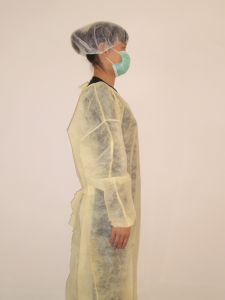 Blue/White/Yellow Disposable PP Non-Woven Surgical Gown/Isolation Gown pictures & photos