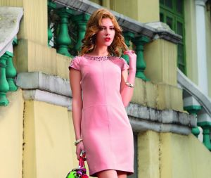 Lovely Pink Beaded Dress (2-240-475)