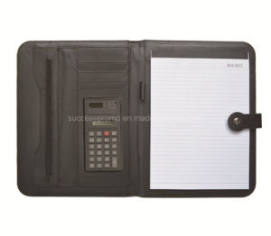 Customized A4 Leather Document File Cover Folder with Calculator pictures & photos