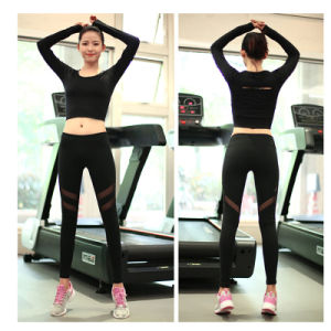 280GSM Mesh Inset 85% Nylon 15% Polyester Athletic Wear Leggings Black pictures & photos