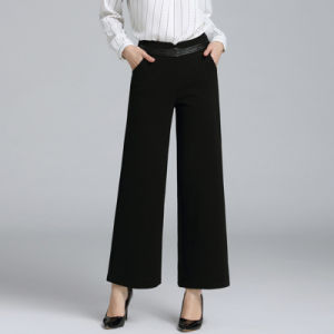 Wide-Legged Woolen Nine Minutes of Lady Pants pictures & photos