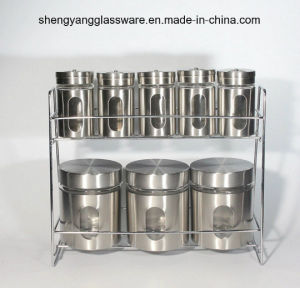 Hot Sell Stainless Steel Wrap Glass Spice Bottle with Shelf pictures & photos