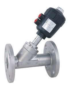 Double/Single Acting Pneumatic Stainless Steel Flange Connection Angle Seat Valve with Plastic Actuator pictures & photos