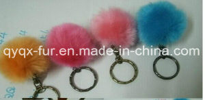 New Arrival Cute Genuine Leather Rabbit Fur Ball Plush Key Chain for Car Key Ring Bag Pendant Car Keychain pictures & photos