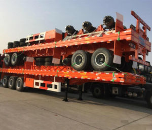 40FT 3axle Flatbed Semi Trailer in Stack pictures & photos