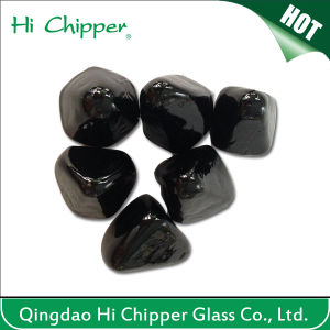 Black Clored Facted Glass Gem Stone for Fire pictures & photos