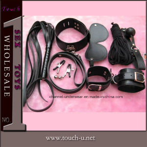 7 Pieces Black Leather Sex Toy, Adult Toy (1094) pictures & photos